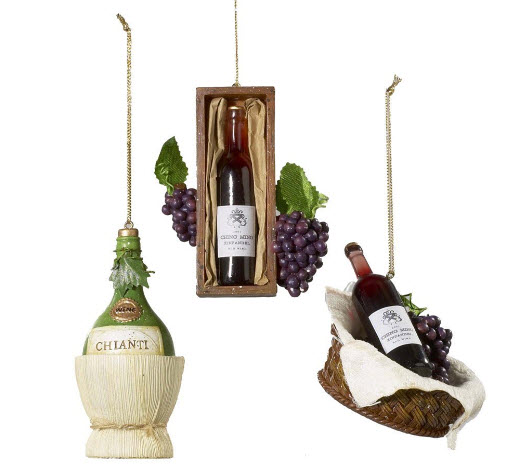 Bottle of Wine in Basket and Wine Bottle Ornament