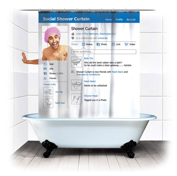 Facebook Social Shower Curtain
