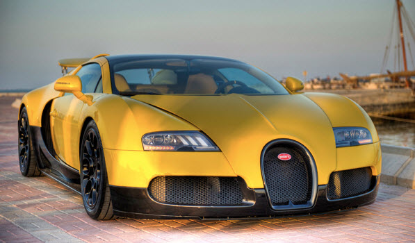 Unique Bright Yellow Bugati Veyron Grand Sport