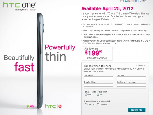 T Mobile HTC One S Smartphone Will Available on April 25