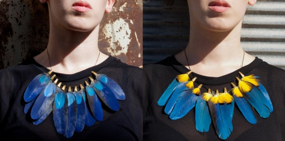 Colorful Feathers Necklace by Liora Taragan