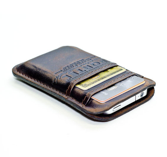 Aged Leather Pocket for iPhone 4