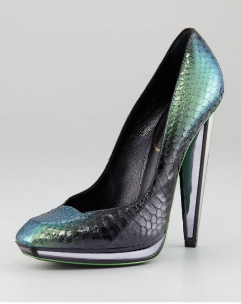 Yves Saint Laurent Snakeskin Mirror Heeled Pump