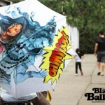 Colorful Hand Painted Umbrellas by Black Balloons